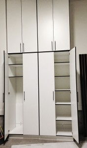 Organized Garage cabinets with doors